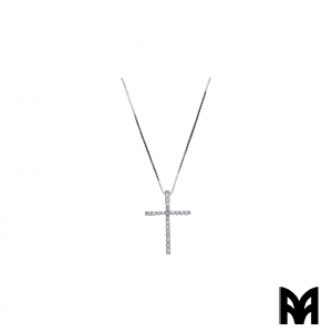 BRILLIANTS CT 0,20 GOLD CROSS NECKLACE
