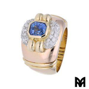 CEYLON SAPPHIRE YELLOW AND PINK GOLD BAND