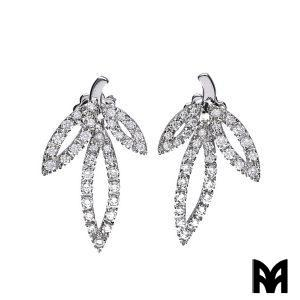 WHITE GOLD DIAMONDS FLOWERS EARRINGS