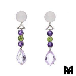 AMETHYST PERIDOT DANGLE EARRINGS