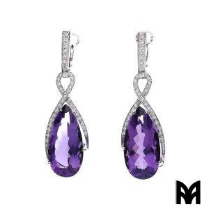AMETHYST AND DIAMONDS DROP EARRINGS