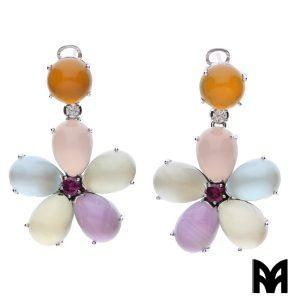 CABOCHON MULTIFLAT FLOWER EARRINGS