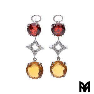 BRIOLET GARNET YELLOW TOPAZ EARRINGS