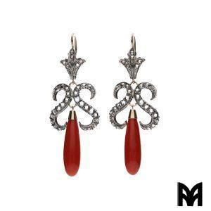 CORAL DROPS ROSE DIAMOND EARRINGS