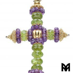 AMETHYST JADE GOLD CROSS PENDANT