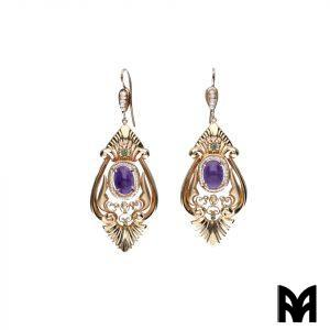 AMETHYST EARRINGS BEGINNINGS 20TH CENTURY