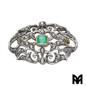 EMERALD DIAMOND ROSE PERFORATED BROOCH