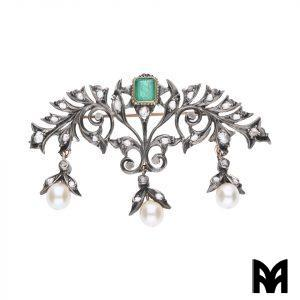EMERALD BROOCH PENDANT BEADS