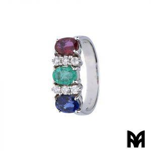 WHITE GOLD RING WITH PRECIOUS STONES AND DIAMONDS