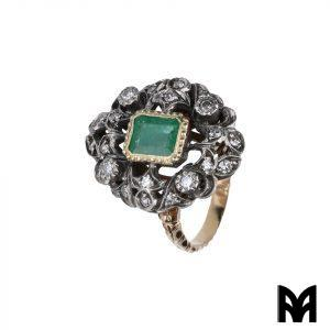 RING 19TH CENTURY EMERALD GOLD SILVER DIAMOND ROSES