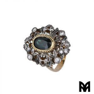 RING 19TH CENTURY SAPPHIRE SILVER GOLD