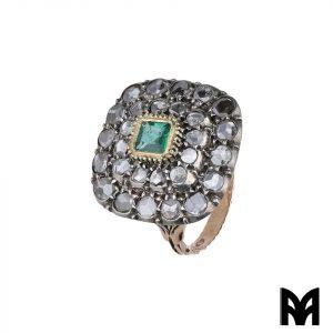 RING STYLE ANTIQUE EMERALD ROSE DIAMOND