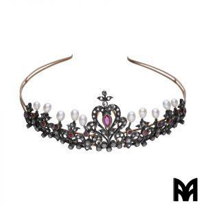 TIARA XVIII CENTURY RUBY PEARLS ROSE DIAMOND