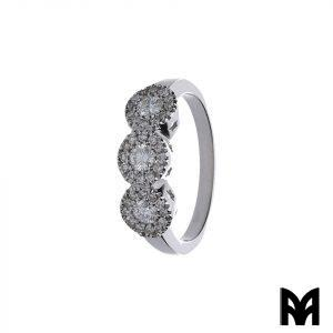 WHITE GOLD RING TRILOGY PAVÈ