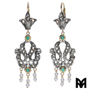 GOLD FRETWORK EARRINGS EMERALDS ROSES BEADS