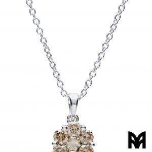 BROWN DIAMONDS FLOWER GOLD PENDANT