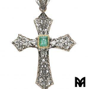 GOLD SILVER EMERALD CROSS