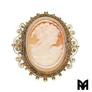 GOLD BROOCH CAMEO FEMALE FIGURE
