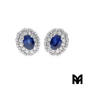 CEYLON SAPPHIRES DIAMONDS GOLD EARRINGS